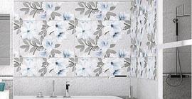 Интерьер ванной комнаты с керамической плиткой коллекции Арго бренда Azori