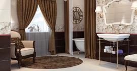 Ванная комната с коллекцией керамической плитки Florentine бренда Opoczno/Опочно (Польша)