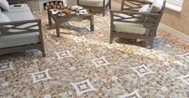 Дизайн гостиной с керамогранитом под камень коллекции Бремен бренда PiezaROSA