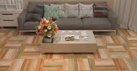 Дизайн гостиной с керамогранитом под дерево коллекции Бургундия бренда PiezaROSA