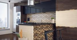 Дизайн кухни с коллекцией Bamboo бренда Golden Tile, плитка-декор в зоне фартука под дерево