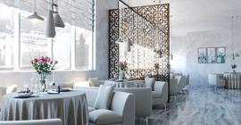 Интерьер ресторана с плиткой бренда Progres коллекции Монблан, глянцевая, серая, под мрамор