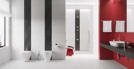 Интерьер ванной комнаты с керамической плиткой коллекции Lumina бренда Nowa Gala