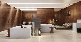 Дизайн большого помещения с коллекционной плиткой Хит Тин бренда Atlas Concorde