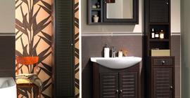 Мебель для ванной комнаты бренда Аква Родос: зеркало, умывальник, тумба и шкаф-пенал