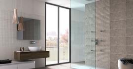 Дизайн ванной комнаты с коллекцией керамической плитки Fargo бренда Opoczno/Опочно (Польша)