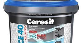 Затирка (Фуга) Ceresit (Церезит) aquastatic СЕ 40, эластичная антрацит (13), 2 кг